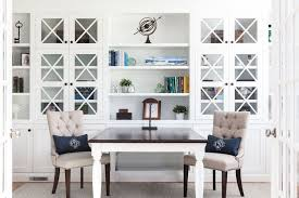 white airy home office. This Bright And Airy Home Office With Custom Built-in Cabinets Is The Perfect Homework Hub In Our Clients Home. Signature Dogwood Monogram Lumbar White