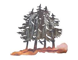 >smw277 metal decor wall art forest pine trees sunriver metal works metal decor wall art forest pine trees