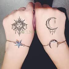 Acquista Impermeabile Autoadesivo Del Tatuaggio Temporaneo Sole Luna