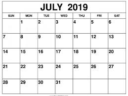 Desk Calendar Printable July 2019 Calendar Word