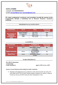 Chartered Accountant Resumes Fresher Chartered Accountant Resume Sample Template For