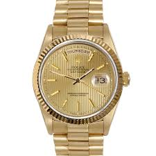 mens used day date presidents rolex watches for swiss wrist pre owned rolex mens yellow gold day date president watch champagne stick tapestry dial