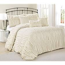 ivory queen comforter set. Delighful Queen 7 Piece Rosales Chic Ruched Ruffled Pleated Comforter Sets Ivory Queen  King Size King And Ivory Set T
