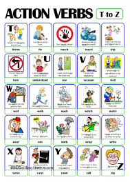 Verb Action Pictionary Action Verb Set 5 From T To Z Action