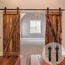Barn door closet door Double Winsoon 518ft Sliding Barn Wood Door Hardware Cabinet Closet Kit Antique Style For Double Amazoncom Barn Doors For Closets Amazoncom