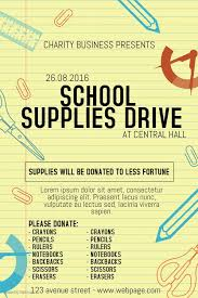 School Poster Maker School Supplies Drive Poster Template Yellow Helping Your