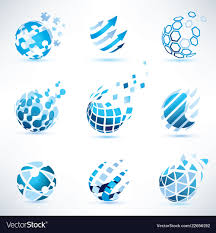 Puzzle Globe Logo Abstract Globe And Puzzle Symbol Setcommunication
