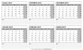 printable 6 month calendar 2019 pin by thirty calendrier on october 2018 to march 2019 calendar