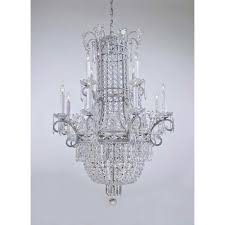 metropolitan lighting vintage silver twelve light two tier chandelier with crystal rosettes and white drip candlesleeves