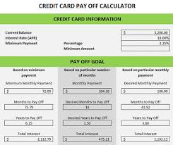 credit card payoff calculator excel excel spreadsheet for credit card payoff calculator