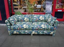 sofa upholstered in william morris fabric by the master craftsmen at london upholsterers