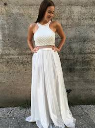 A-Line Round Neck Open Back White Prom Dress with Beading ...