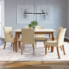 Para uma mesa de jantar 6 cadeiras no formato redondo, é&nbs. Conjunto Sala De Jantar Mesa Tampo De Vidro 160cm 6 Cadeiras Lorena Espresso Moveis Nature Off White Linho Madeiramadeira