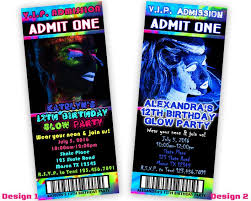 Party Ticket Invitations Magnificent Girls GLOW Party Ticket Invitations Party Print Express
