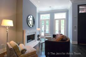 jennifer ames realty blue brown chic small city living room design with blue gray paint wall colors blue gray living room