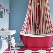 blue and pink bathroom designs. Bathroom Ideas: Blue With Pink Bathtub Also Red Striped Shower Screen Plus Wall Mount And Designs D