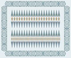 Above  The Navajo Intarsia Stencil Surrounded By Chevron Border Stencil Shown In Muted Grey Tones Of Shoreline Arctic Grey