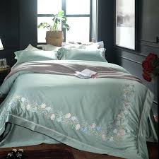 fine modern bedding sets king green blue embroidery fl luxury cotton modern bedding set queen king