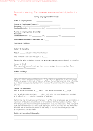 Nanny Employment Contract Invoice Template Cover Letter
