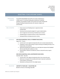 Awesome Collection of Sample Basketball Coach Resume With Download