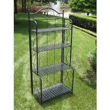 folding metal shelves. Delighful Shelves Indoor  Outdoor Folding Metal Bakers Rack With 4Tier Lattice Shelves In  Black Iron Intended