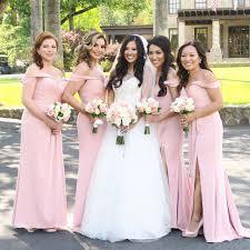 Light Pink Bridesmaid Dresses Long Light Pink Off The Shoulder Slit Bridesmaid Dresses
