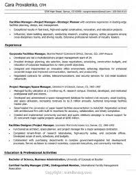Newest Facilities Manager Resume Objective Resume For Construction