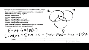 Example Of Venn Diagram In English Principle Of Inclusion Exclusion And Venn Diagram Counting Problems A 3 Group Example