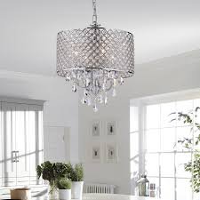crystal chandelier with drum shade. EDVIVI EPG801CH Chrome Finish Drum Shade 4-Light Crystal Chandelier Ceiling Fixture, Round - Amazon.com With N