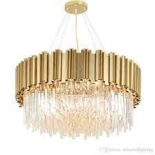 luxury post modern crystal pendant lamp k9 crystal stainless steel lampshade in gold modern pendant lighting round rectangle crystal lights modern pendant