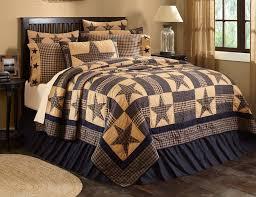 teton star oversized king quilt primitive navy blue khaki