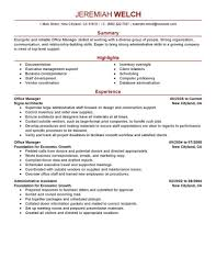 Sample Resume Templates For Office Manager Medical Office Manager