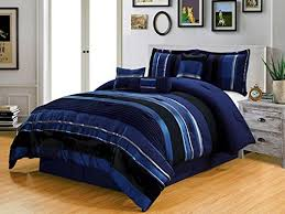 5 piece navy blue black silver stripe