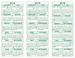 Calendar 2013 Through 2015 2014 2015 2016 3 Year Calendar