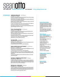 resume contact sean otto art director resume contact