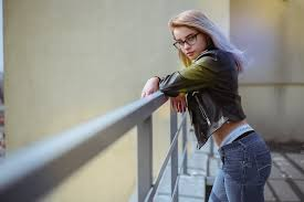 women blonde face leather jackets glasses balcony jeans side view depth of field calvin klein