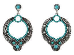 steve madden round blue white bead dangling post earrings silver womens jewelry chandelier steve