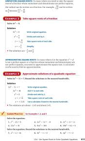 x k p use square roots to solve quadratic equations 653 z 2 5 9 4 divide each side by 4 z 56Î 9