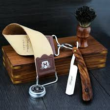 barber salon straight cut throat shaving razor gift set vine 5 pc luxury kit