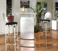 futuristic home bar idea for small space with metal bar counter and  metallic bar stools
