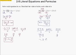 2 5 literal equations and formulas