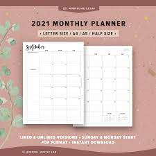 2021 Monthly Planner Printable Half Size A5 Letter Size