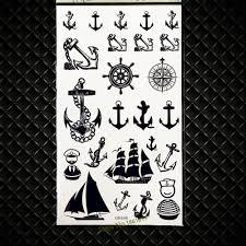 5177 руб 8 скидкапиратский якорь дизайн черная хна тату наклейка S компас стиль