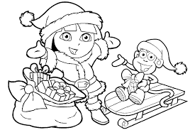 Small Picture Dora The Explorer Christmas Coloring Pages GetColoringPagescom
