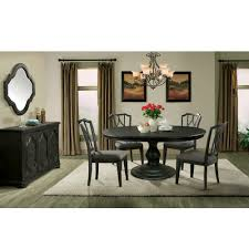 corinne dining set in ebonized acacia table shown with leaf extension