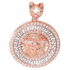 summer icedjewels 3 73 cttw cz 10k gold medusa head medallion micro pave small necklace choker pendant 91156