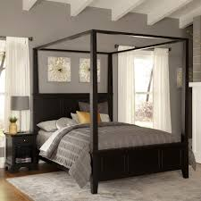 Home Styles Bedford Black Queen Canopy Bed 5531-510 - The Home Depot