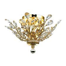 elegant lighting orchid 20 in w gold crystal semi flush mount light