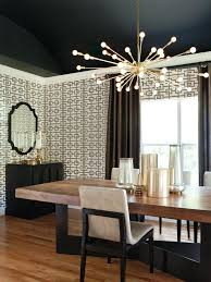 dining room light fixtures fixture sputnik chandelier by lighting mirror black and white wall paper modern