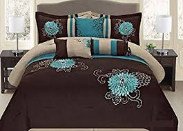 turquoise comforter set king. Brilliant King Fancy Collection 7pc Embroidery Bedding Brown Turquoise Comforter Set King  To King